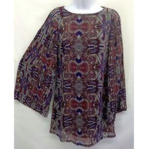 Fire Women Top Paisley Pleated Sleeves Lined XS